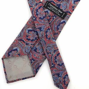 Christian Dior Paisley Tie Blue Red White